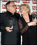 Coronation Street stars Bill Tarmey and Liz Dawn at the Inside Soap Awards