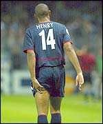 Thierry Henry was withdrawn with a hamstring injury