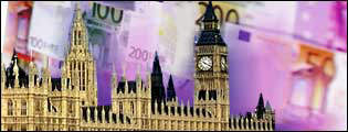 Houses of Parliament against a background of euro notes