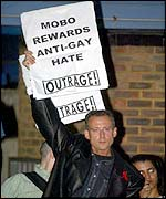 Peter Tatchell, of OutRage!, outside the Mobos
