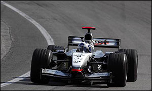 David Coulthard in the McLaren at the US Grand Prix