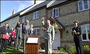 The Prince of Wales during his visit to the Hastoe Housing Project