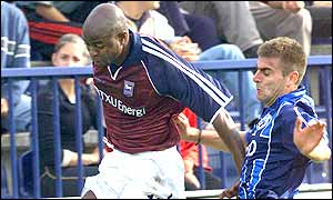 Finidi George's cross leads to an Ipswich penalty - and their vital away goal