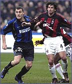 Inter's Christian Vieri (left) tangles with Albertini of Milan
