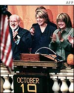 Martha Stewart rings the opening bell on the New York Stock Exchange, 19 October 2002