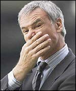 Claudio Ranieri puts his hand over his mouth