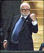 Ken Bates clenches his fist