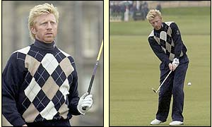 Boris Becker swaps his tennis racket for golf clubs at St Andrews