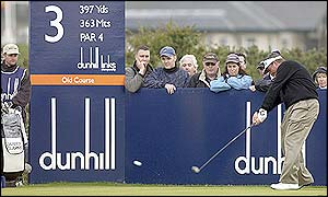 Darren Clarke tees off at the third hole at St Andrews