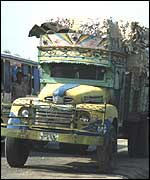 Truck on street in Dhaka