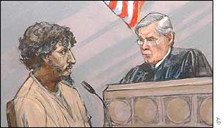Artist's drawling of Reid and Judge William Young