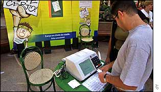 Brazilian voter familiarises himself with electronic ballot-box