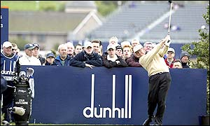 Scotland's Colin Montgomerie tees of at the third hole