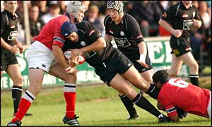 Neath's Hywel Jenkins is stopped in his tracks