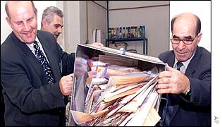 A ballot box is emptied in Sarajevo