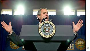 US President George W Bush makes a speech