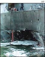 Hole in the hull of USS Cole