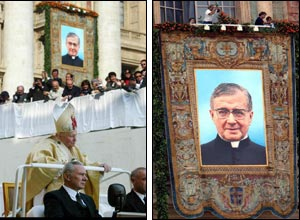 The pope arriving (l) and a tapestry showing Jose Maria Escriva (r) (photos courtesy of AP and AFP