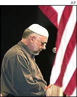 A Muslim prays in Atlanta Georgia