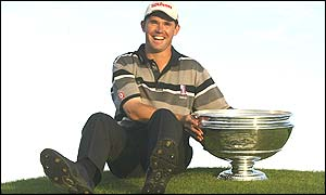 Padraig Harrington with the Dunhilll Links Championship trophy