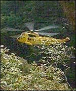 The RAF Chivenor helicopter rescues a man from the Ystradfellte gorge