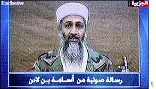 Osama Bin Laden pictured on al-Jazeera