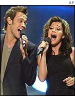 Will Young and US Pop Idol Kelly Clarkson