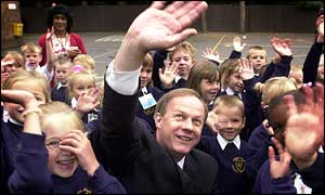 Damian Green visiting a school on Monday