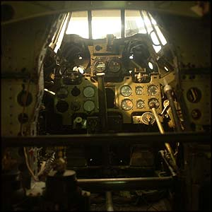 The cockpit of the Zero fighter.