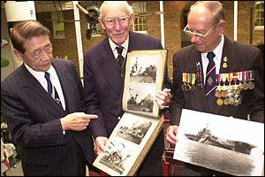 Hichiro Naemura (l) meets Lt Commander Geoffrey Brooke (c) and Dave Nash (r)