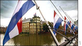 Flags at half mast near the Dutch parliament building