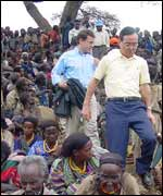 Kenzo Oshima among villagers in West Hararghe