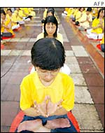 Falun Gong practitioners stage a sit-in protest, Hong Kong, 1 October 2001