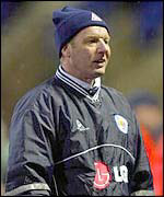 Dave Bassett watches Leicester from the touchline