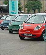 Line-up of Think cars