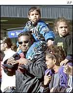 An Aboriginal family joined hundreds of Australian Aboriginals marching in Sydney,  July 2002