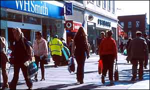 Shoppers in a high street