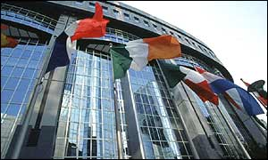 Flags of member states fly outside European Parliament