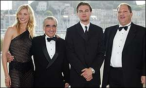Diaz, Scorsese,  DiCaprio and producer Harvey Weinstein