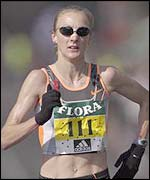 Paula Radcliffe in action during the London Marathon