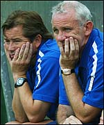 Peter Reid (right) and assistant Adrian Heath