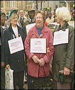 Women pensioners protesting