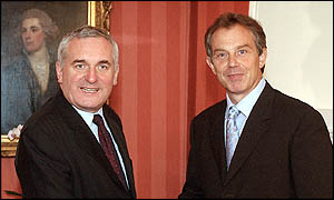 Bertie Ahern and Tony Blair in London