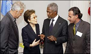 The artists, Yoko Ono and Kofi Annan