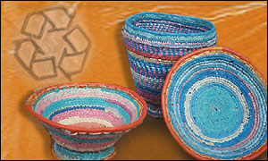 Baskets made from recycled plastic bags