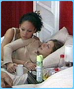 Camilla comforts Naomi while she waits to hear the doctor's verdict