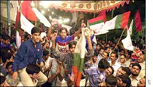 Supporters of Mutahidda Majlis-e-Amal (MMA) celebrating