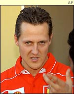 Michael Schumacher faces the media at Suzuka