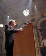 Martin McGuinness speaking at the Sinn Fein rally