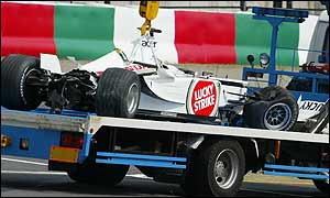 Jacques Villeneuve crashed at the 140mph Spoon Curve